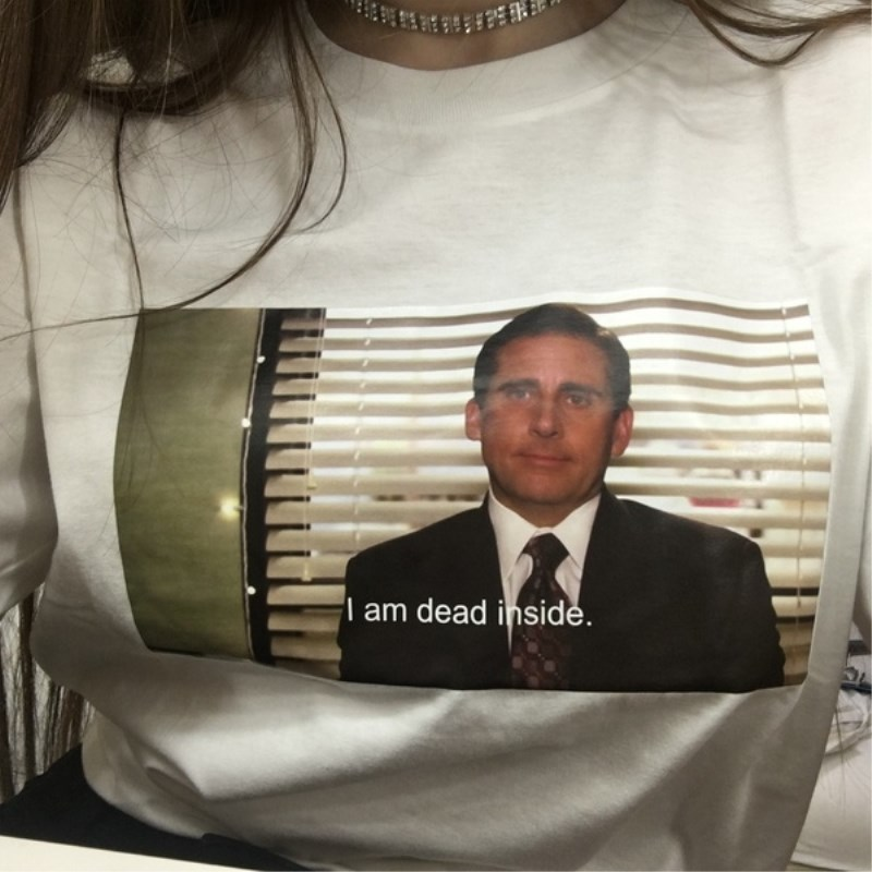 Fashion Tee Summer Tops The Office Michael Scott I Am Dead Inside Quotes Funny T-Shirt Unisex Tumblr Grunge 2019 image