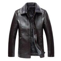 8XL 7XLhigh end new winter men's plus velvet thick leather jacket, large size trend business slim short casual PU leather jacket