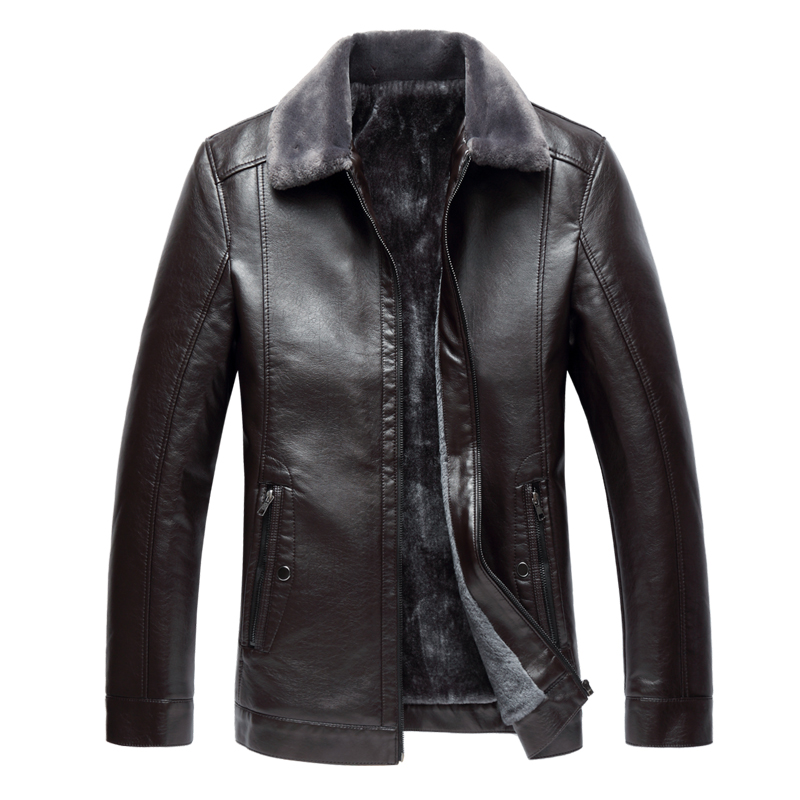 8XL 7XLhigh-end New Winter Men's Plus Velvet Thick Leather Jacket, Large Size Trend Business Slim Short Casual PU Leather Jacket