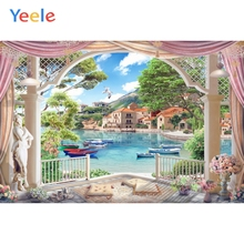 Yeele Village Town Boat River Lattice Arch Landscape Photography Backgrounds Customized Photographic Backdrops for Photo Studio