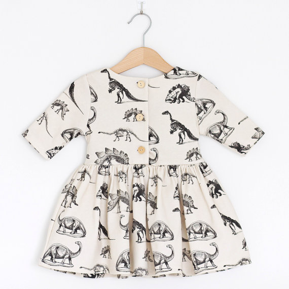Toddler Kid Baby Girl Animal Half Sleeve Dinosaur Tutu Cotton Dress Outfit Clothes One-Piece