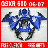 Full Fairings for 2006 2007 moto SUZUKI GSXR 600 750 hot sale blue black K6 BACARDI GSXR600 bodywork GSXR750 kit 7 gifts IT86