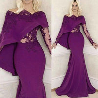Purple Mermaid Evening Bridal Dress Long Sleeve Prom Pageant Formal Party Gowns