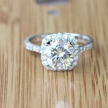 1.5 Carat ct Elegant G-H Color Round Halo Wedding Engagement Wedding Dia mond Ring Women Real White Gold Love Brithday Gift