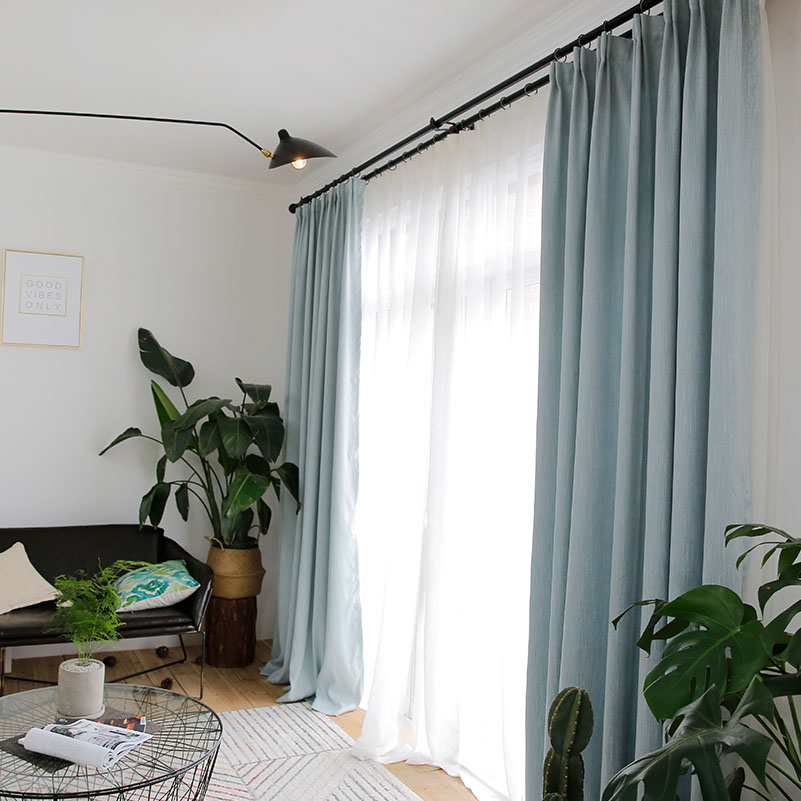 Online Shop Aqua Curtains For Living Room Solid Color Modern For Bedroom  Custom Made Continas Rideaux 1pc Blackout Curtain Panel Drapery |  Aliexpress Mobile