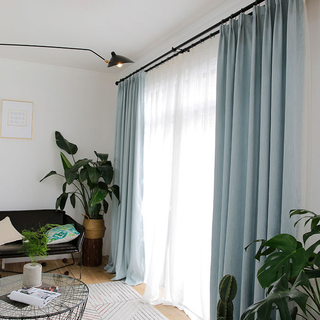 Aqua Curtains For Living Room Solid Color Modern Bedroom Custom Made Continas Rideaux 1pc Blackout