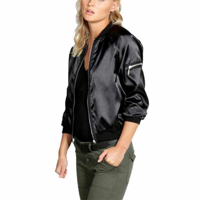 Черная куртка-бомбер на молнии для женщин; коллекция 2019 года; сезон весна-осень; базовые пальто; женские ветровки с длинными рукавами; укороченные куртки; женская верхняя одежда