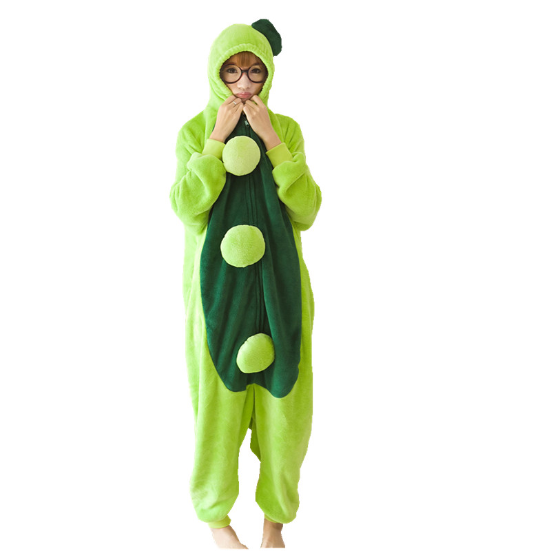 Adults Flannel Kigurumi Pea Costume Women Onesies Pajamas For Halloween Carnival Party