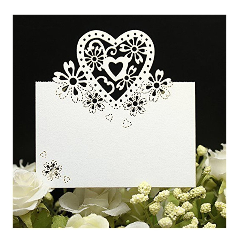Free Shipping 50pcs/Lot Love Heart Laser Cut Wedding Party Table Name Place Cards Favor Decor Wedding Decoration Party Supplies 50pcs lovely shell place name cards wedding birthday party table setting decor