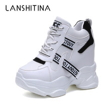 2019 New Women Sneakers Mesh Casual Platform Trainers Fashion White Shoes 11 CM Heels Wedges Breathable Woman Spring
