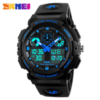 SKMEI Brand Watches Men Dual Time Military Watch Army LED Digital Wristwatch 50M Waterproof S Shock