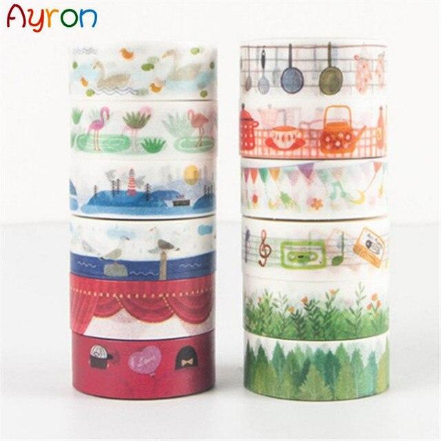 15mm * 7 m Japón cuenta de mano washi cinta DIY decoración scrapbooking planificador cinta adhesiva etiqueta adhesiva papelería
