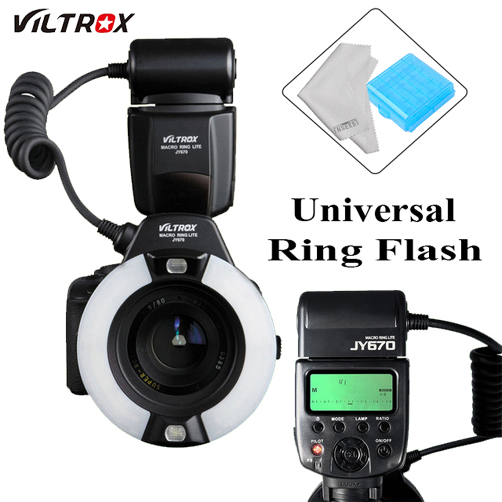 Viltrox JY-670 Universal DSLR Camera photo LCD Macro Ring Lite Flash Speedlite FlashLight for Canon Nikon Pentax Olympus цена и фото