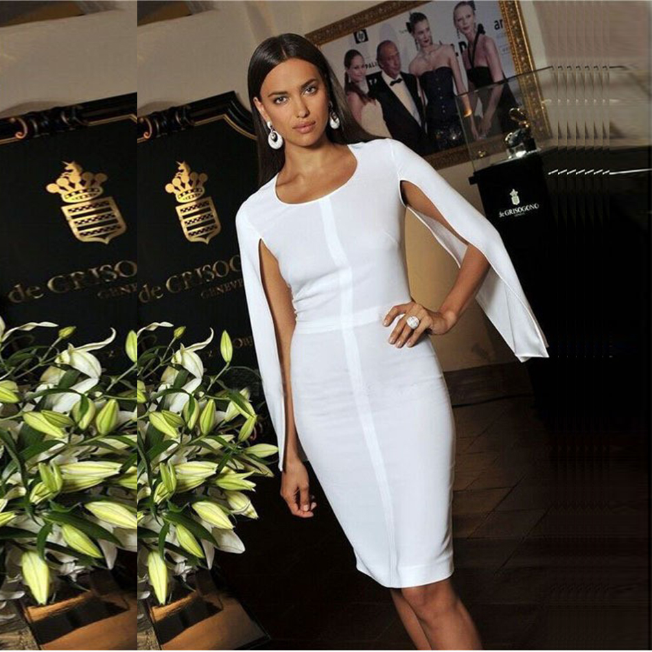 2018 New Summer Bandage Dress Women Celebrity Party White Batwing Sleeve O-Neck Elegant Sexy Night Out Club Dress Women Vestidos