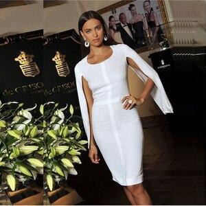 Image 4 - 2020 新夏包帯ドレスの女性有名人パーティー白バットウィングスリーブ o ネックエレガントなセクシーな夜クラブドレス女性 vestidos