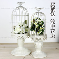 French finishing iron white decorative bird cages candlestick weddings bird cage decoration home decoration Candle Holders ZT056