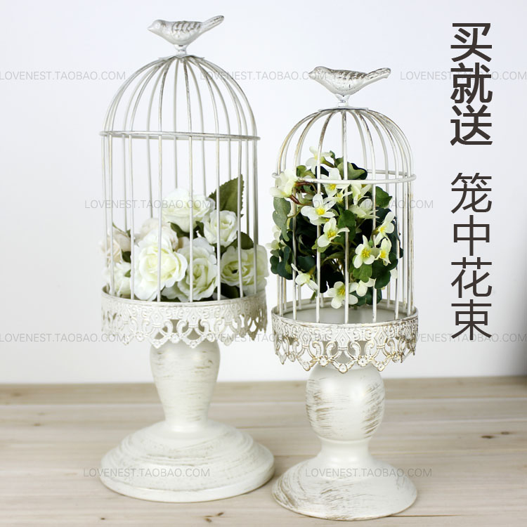 French Finishing Iron White Decorative Bird Cages Candlestick