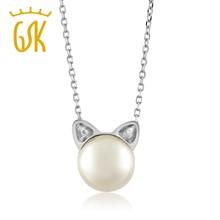 Gemstoneking hermosa plata de ley 925 colgante, collar del gato para las mujeres niñas con 7mm perlas de agua dulce(China (Mainland))