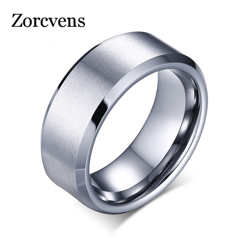 ZORCVENS 8mm Wide Wholesale Men Tungsten Wedding Rings Jewelry High Quality Tungsten Carbide Rings for Men Jewelry