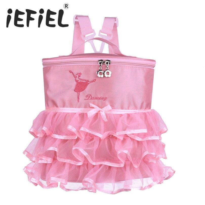 Iefiel子供女の子子供バレエダンスバッグ踊る少女ハンドバッグ用ダンスパフォーマンス子バレリーナキッズショルダーバレエバッグ