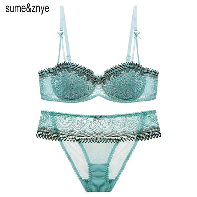 a39473759428f Europe French Underwear Women Intimate sexy lace Bra And Thong Set Black  and green 1 2 Cup Lace Bra Strapless Bra And Panty Set