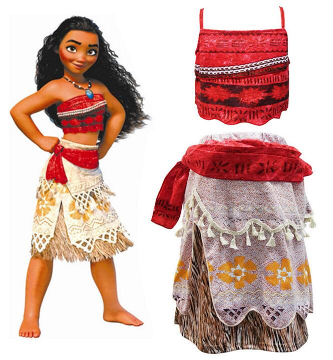 Girls Kids Movie Polynesia princess Moana 2-Piece Costume Birthday Dress Cosplay