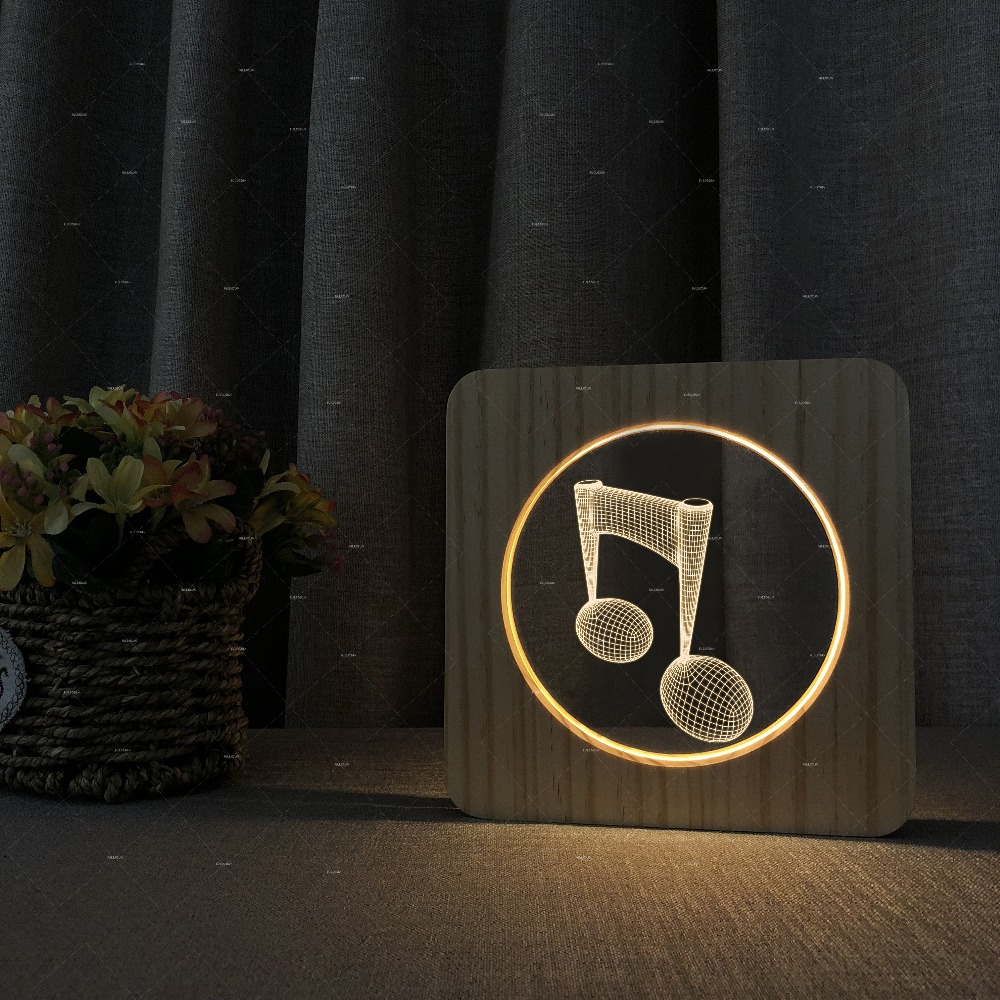все цены на Music Addiction music note design USB wood acrylic Lamp warms white color night light as music gifts for him