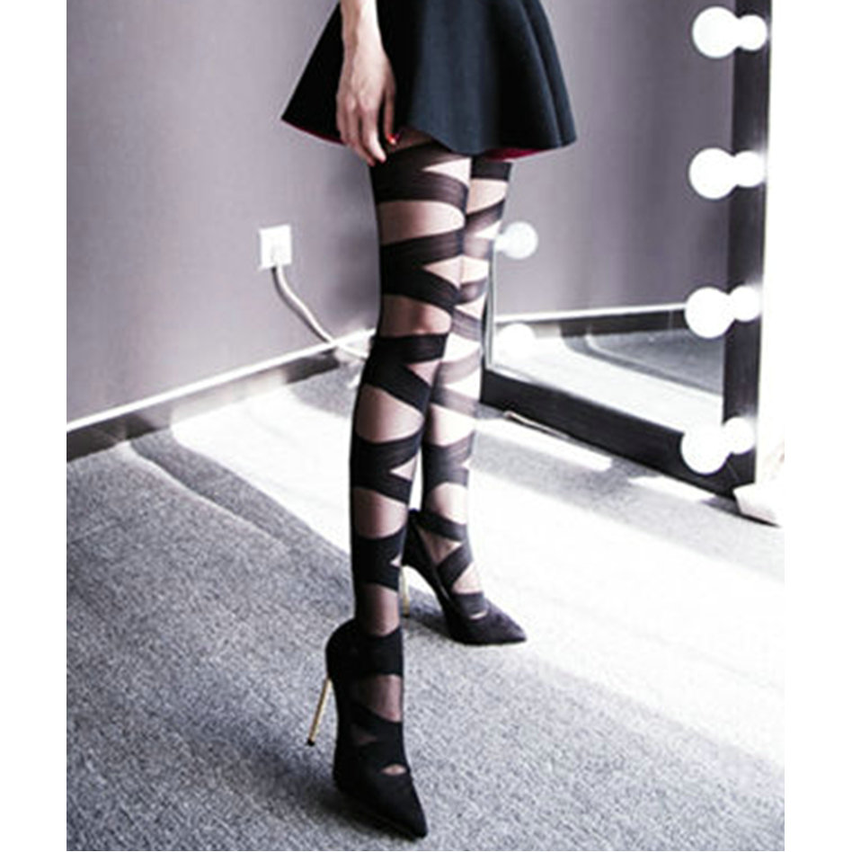 Hot Sale Sexy Thin Women Goth Rocker Cross Bandage Straps Accessory Pantyhose Tights Stockings Elasticity Black Solid One Size