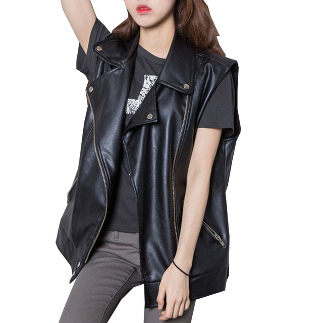 3f2ad0ed60b Streetwear Women s PU Vest New Autumn Oblique Zipper Sleeveless Jacket  Female Outwear Waistcoat Plus Size S