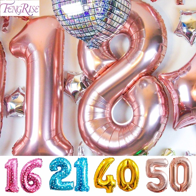 FENGRISE Champagne16th 18th 20th 21st 30th 40th 50th Birthday Balloon Gold Number Happy Party Decorations Adult