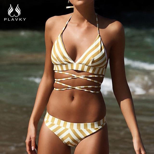 7d9166a7a73 PLAVKY 2019 Sexy Halter Bandage White Yellow Striped Biquini Swim Bathing  Suit Beachwear Bralette Swimsuit Swimwear