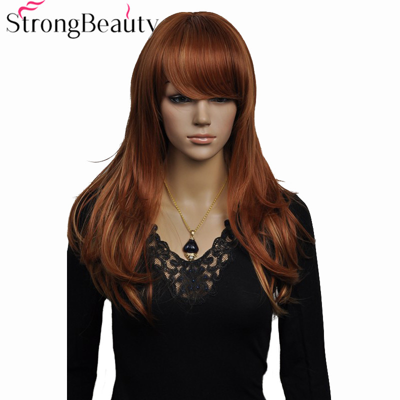 StrongBeauty Synthetic Long Wavy Wigs Auburn with Highlights Wig Heat Resistant Hair in Synthetic None Lace Wigs from Hair Extensions Wigs
