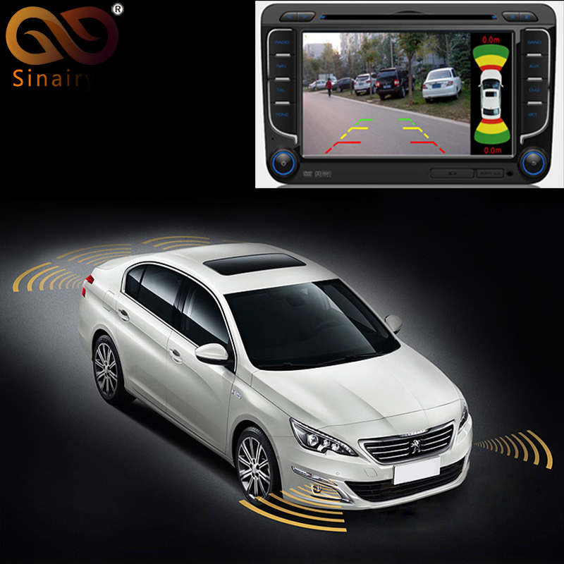 Sinairyu Dual Channel Car Video Parking Radar Sensor Front Rear 8 Sensors 2 Video Input For Front Rear Camera Monitor DVD Player park pilot parking front and rear 8 sensors update 8k pdc ops for skoda mqb octavia