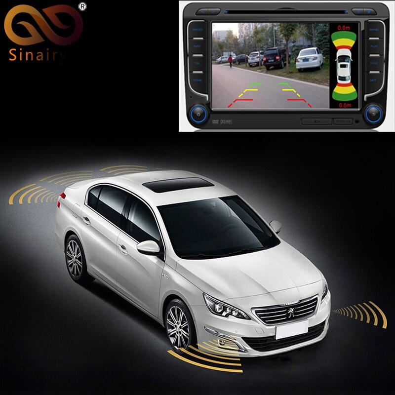 Sinairyu Dual Channel Car Video Parking Radar Sensor Front Rear 8 Sensors 2 Video Input For Front Rear Camera Monitor DVD Player