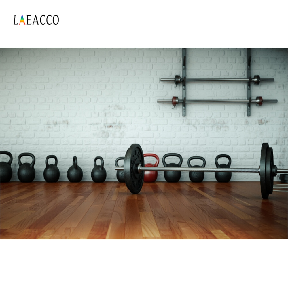 Laeacco Gym Weightlifting Dumbbell Sports Gray Brick Wall Baby Photo Backdrops Photography Backgrounds Photocall Studio