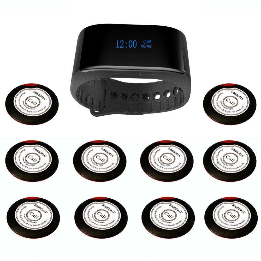 SINGCALL Беспроводная система вызова официантов кафе, церковная система пейджера 1 новый браслет часы пейджер плюс 10 кнопки вызова
