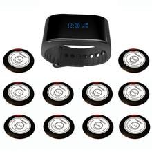 Singcall 무선 호출 시스템 웨이터 서비스 카페, 교회 호출기 시스템 1 개의 새로운 팔찌 시계 호출기 플러스 10 개의 호출 버튼