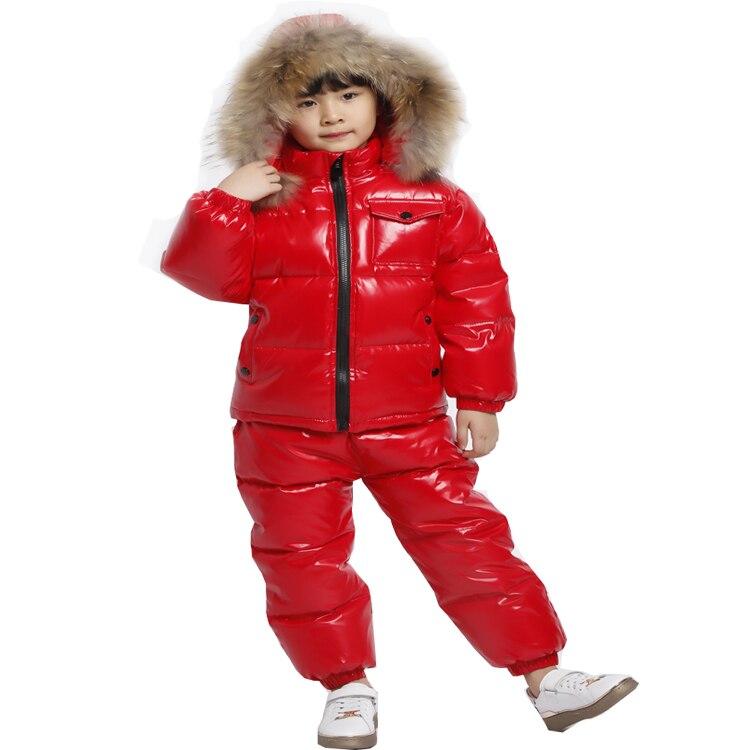 KABULANDY hiver russe vraie fourrure enfants vêtements mis en bas garçons Snowsuit vêtements de bébé imperméable filles vestes enfants vêtements