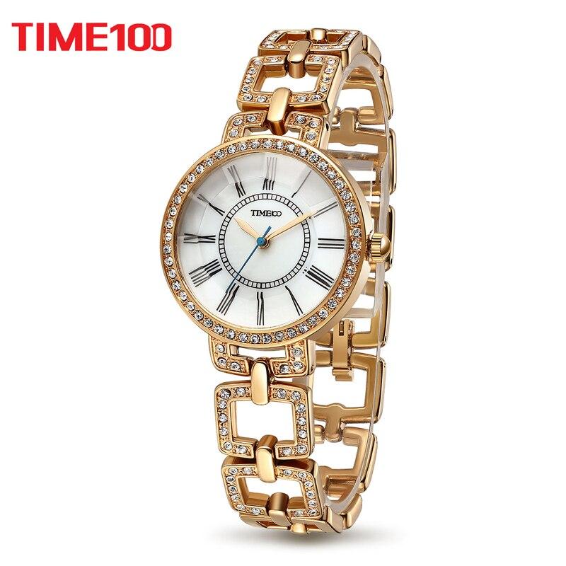 Time100 luxury 여성용 시계 해골 스테인레스 스틸 스트랩 montre 여성용 여성용 쿼츠 시계 reloj mujer horloge dames