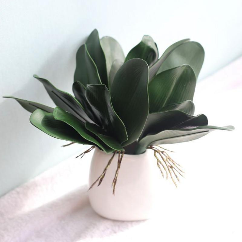 Настоящий на ощупь фаленопсис искусственное растение с листьями, листьями, декоративными цветами, вспомогательный материал для цветочного...