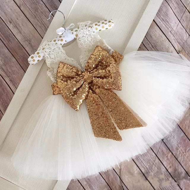 White Ivory Cute flower girls dresses with gold sequined bow kids birthday dress beauty prom ball gowns baby frocks 2017 Custom new white ivory nice spaghetti straps sequined knee length a line flower girl dress beautiful square collar birthday party gowns