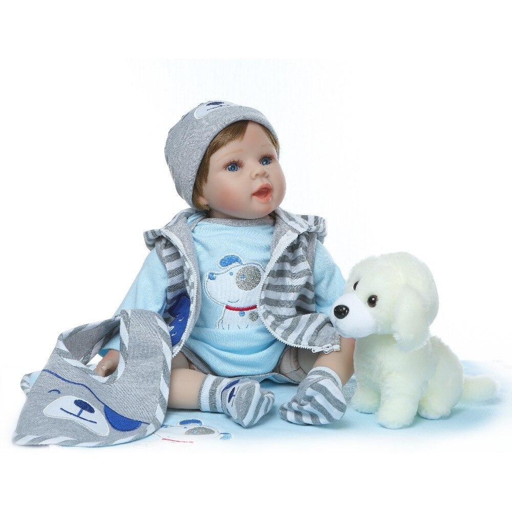 NPK 55cm soft real touch silicone boneca bebes reborn silicone reborn toddler baby dolls kids birthday