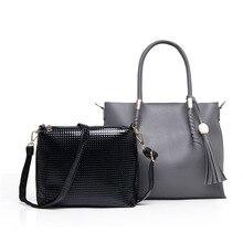 Vintage fashion all-match handbag High quality PU leather casual large capacity women's bag tassel shoulder bags bolsa feminina