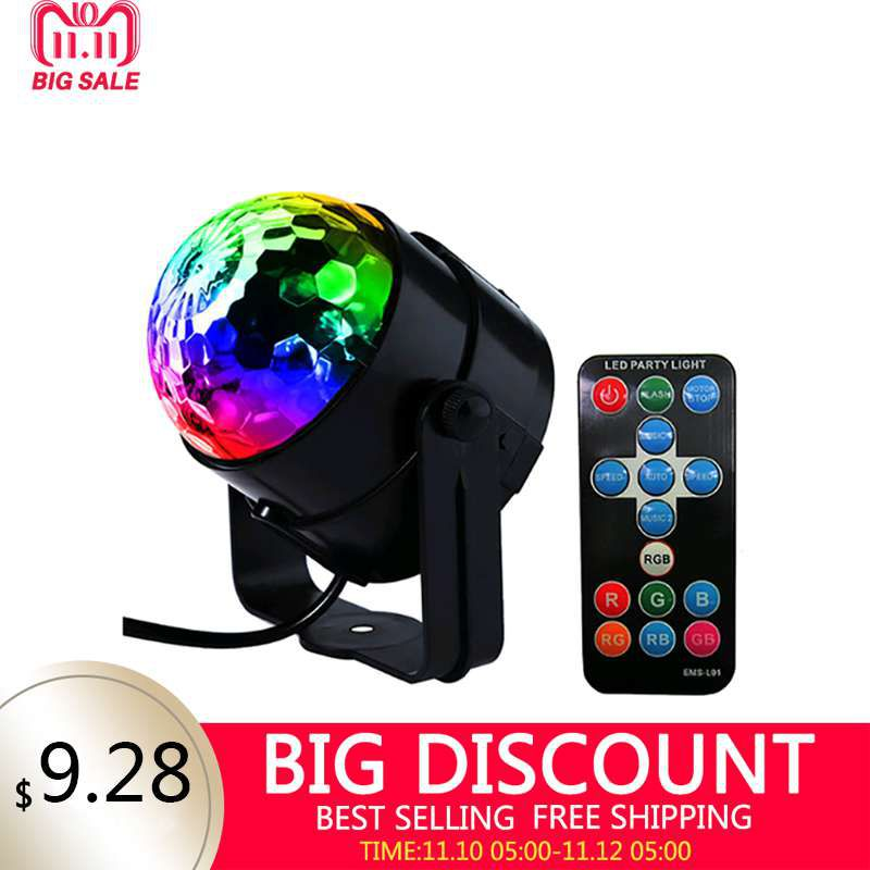 LED Disco Ball Dj Disco Ball Stage Light 3W 220V 7 Colors Sound Activated Strobe Stage Lighting Chrismas Party Lights Projector 7 colors disco ball lumiere 3w sound activated strobe led rgb stage lighting effect lamp laser christmas dj ktv light party show