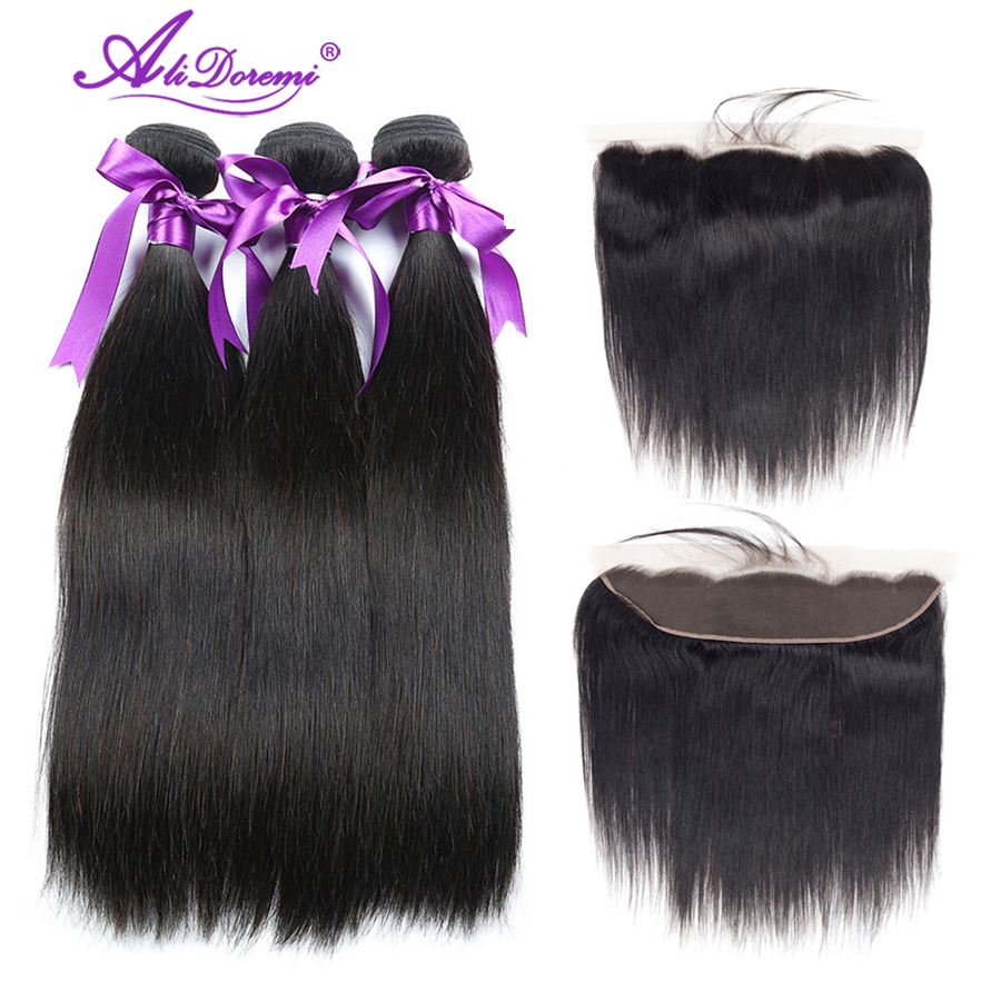 Alidoremi Ear to Ear 13x4 Peruvian straight hair 4 Bundles With Lace Frontal closure with baby hair Nonremy 100 Human Hair Weave