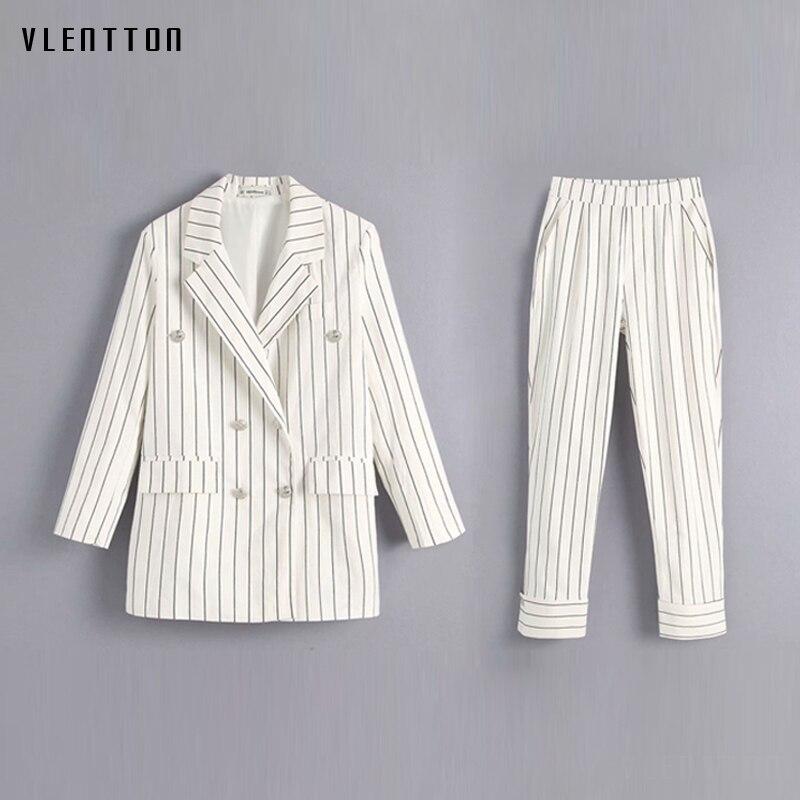 Autumn Striped Women Pant Suits Double Breasted Metal Button Office Blazer Jacket+Elastic Waist Pants Casual Female 2 Piece Set