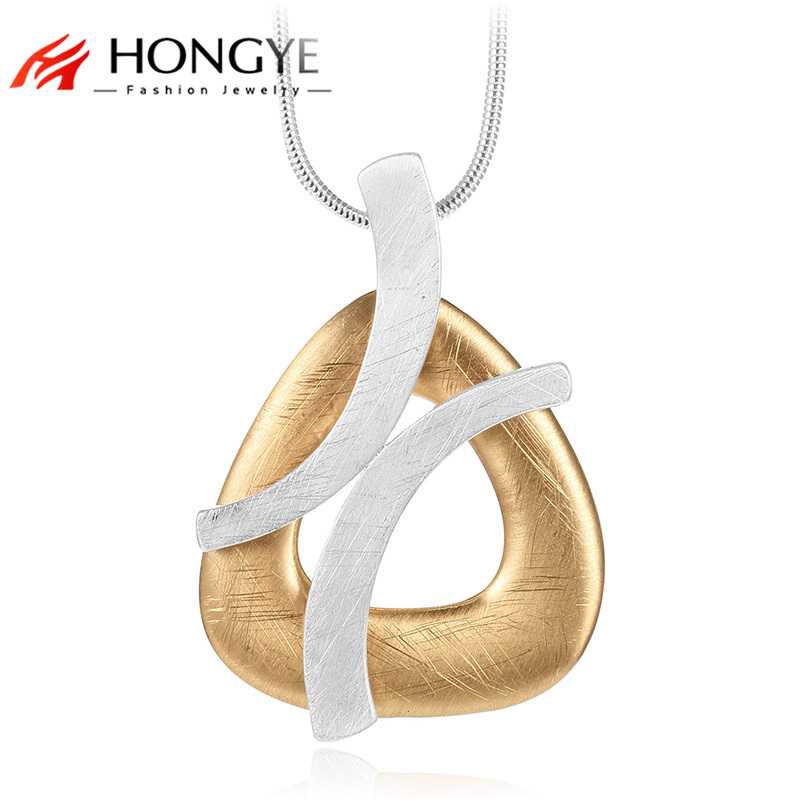 HONGYE 2018 Unique Punk Jewelry Gold Silver Color Handmade Drawing Geometric Hollow Pendant Long Necklace Women Statement Bijoux punk style solid color hollow out rhinestone leaf shape pendant necklace for women
