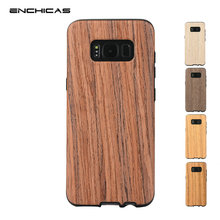 ENCHICAS Fashion Cool Natural Solid Wood with Durable Reinforced TPU Hybrid Case for Samsung Galaxy S8/S8 Plus Shell Back Cover