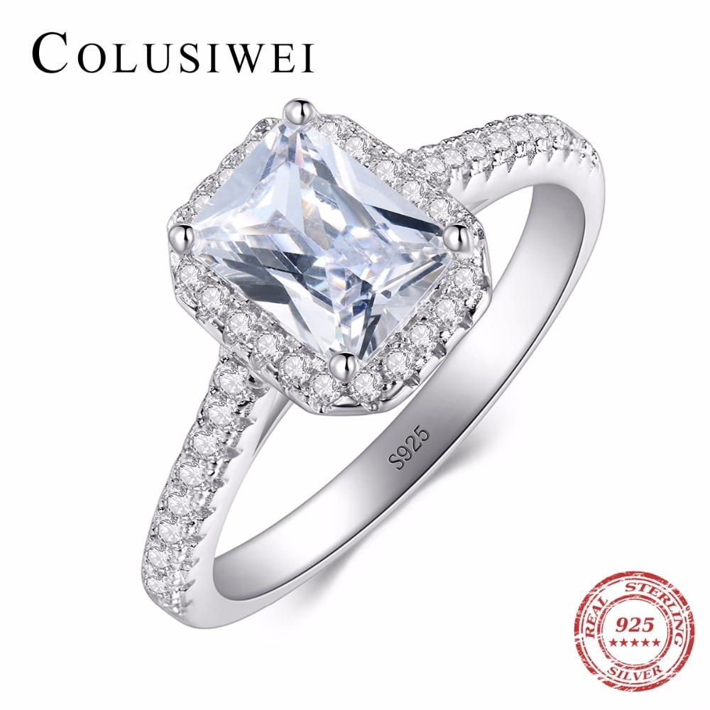 """""""Fashion 925"""" sidabriniai žiedai moterims Vestuvinės juostos """"Bijoux"""" AAAAA cirkonio derliaus aksesuarai """"Engagement Bague"""" bižuterija"""
