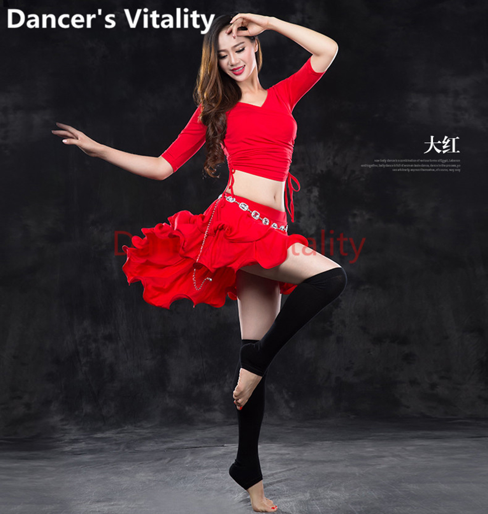 New Belly Dance Clothing <font><b>Sexy</b></font> Modal Half Sleeves Top + <font><b>2</b></font> Layer Skirt Belly Dance Costume T-<font><b>Shirt</b></font> Pants Women Belly Dance Costume image